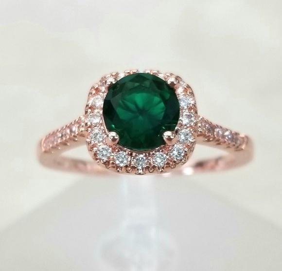 18k Over Sterling Emerald Ring